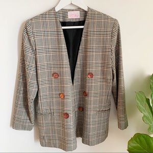 Vtg Checkered Grey Blazer Made In Canada 8